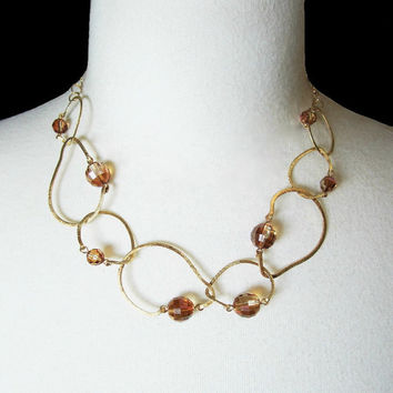 Vermeil Necklace Large Gold Link Necklace Swarovski Crystal Necklace Fine Jewelry Necklace