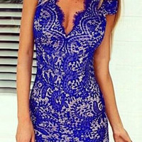 Blue V-Neck Lace Dress