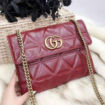 GUCCI Newest High Quality Fashionable Women Leather Handbag Tote Shoulder Bag Crossbody Satchel Red