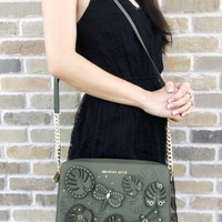 Michael Kors Jet Set Large East West Crossbody Bag Olive Floral