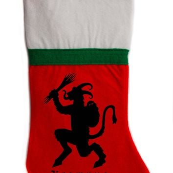 "Krampus Christmas Holiday Stocking 16"" Red/White Felt Hanging Sock Santa Stuffer Merry Gothmas"