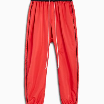 parachute track pant piping / red + black + black