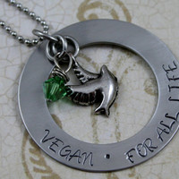 "Hand Stamped Stainless Steel Circle Washer Necklace, ""Vegan, For All Life""  with 2 charms Vegan Jewelry"