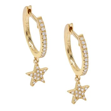 Dangling Star Diamond Huggies 14KT