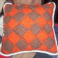CROCHET Pillow HANDMADE  Tunisian Entrelac Crochet in Orange and Mocha Brown