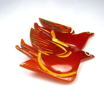 Bakelite Brooch, Bird Pin, Carnelian, 1930s Art Deco Vintage Jewelry