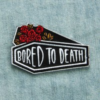 """Bored To Death"" Coffin and Roses Iron on Patch"