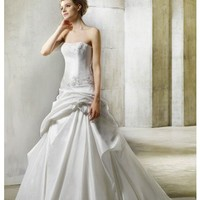 A Line Strapless Floor Length Dropped Waist Gown with Taffeta Norma-1 : $212.00 at VikiDress.com.