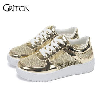 2016 New Arrival Women's Casual Shoes Fashionable Golden and Silver Shining Shoes Breathable Spring Summer Autern Winter Shoes