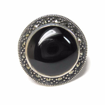 Round Vintage Sterling Onyx Marcasite Ring Size 7