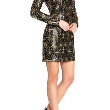 Dress the Population 'Bailey' Long Sleeve Sequin Dress | Nordstrom