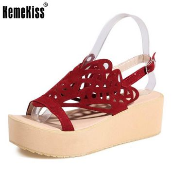 KemeKiss Size 30-48 Women Wedges Sandals Women Shoes Thick Bottom Summer Shoes Hollow Out Casual Shopping Date Fashion Footwear