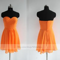 Handmade Sweetheart Orange Chiffon Knee Length Bridesmaid Dress/ Cocktail Dress/ Wedding Party Dress by wishdress