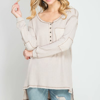 Taupe Stone Washed Termal Top