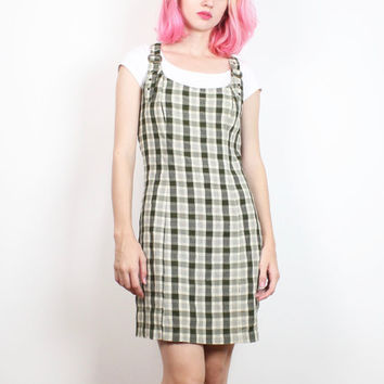 Vintage 90s Dress Olive Green Plaid School Girl Jumper Dress 1990s Dress Overalls Mini Dress Soft Grunge Dress Clueless Preppy S M Medium