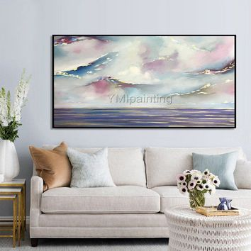Gold art acrylic paintings on canvas original art abstract blue painting extra Large painting Wall Pictures caudros abstractos hand painted