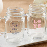 Personalized 16 oz Mason Jar Mugs