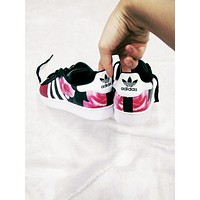 """""""Adidas"""" Fashion Shell-toe Flats Sneakers Sport Shoes Roses Red+Pink"""