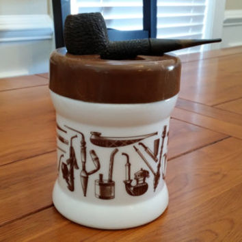 Vintage Milk Glass Humidor Pipe Tobacco Holder Jar Canister With Great Pipe Illustrations Great Best Man Groomsman Father's Day Guy Gift
