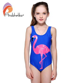 Andzhelika Girls One Piece Swimsuit 2018 New Animal Print Cartoon Bird Swimwear Sports Girls Bodysuit Swim Suits Bathing Suit
