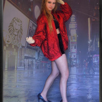 Vintage silk cocoon jacket / ruched pin-tucks oversize batwing chevron wine red bomber coat / 80s glam grunge