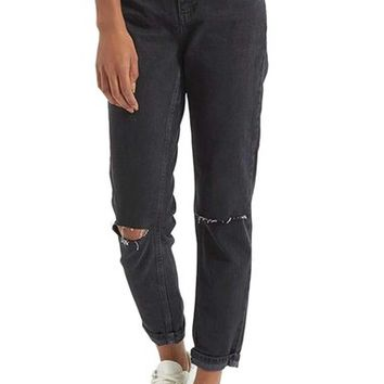 Topshop Moto Mom Washed Ripped Jeans | Nordstrom