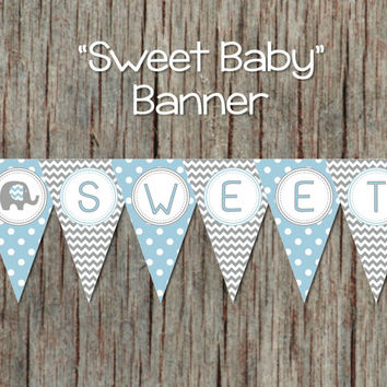 Printable Baby Shower Decorations Pennant Banner INSTANT DOWNLOAD Elephant Powder Blue Grey Sweet Baby DIY pdf  Banner 032