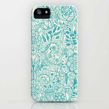 Detailed Floral Pattern in Teal and Cream iPhone & iPod Case by Micklyn