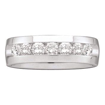 14kt White Gold Men's Round Channel-set Diamond Wedding Band Ring 1-1/2 Cttw - FREE Shipping (US/CAN)