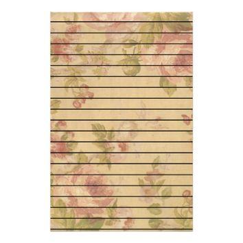 Rose Art Print Lined Stationery
