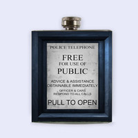 Tardis, Tardis Flask, Doctor Who, Flask, personalzed, custom, flask, great wedding gift