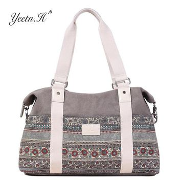 Yeetn.H women's vintage style hangbags tote multifunctional canvas bag travel hand luggage large capacticy shoulder bags Y2115