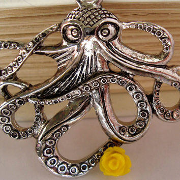 Silver Octopus necklace with yellow flower by AshleysCharm on Etsy