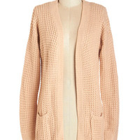 ModCloth Scholastic Long Sleeve Gotta Jete! Cardigan in Sandstone