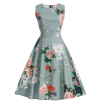 2017 Women Dress Casual Vintage Print Ball Gown Plus Size Spring Summer Harajuku Sleeveless Clothes Vestidos Vetement Femme
