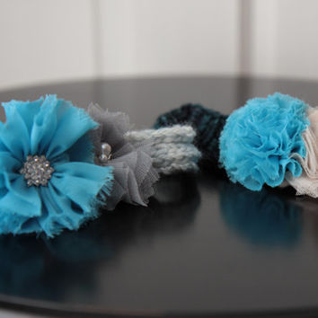 Baby Girl Knit Headband, Flower Knitted Headband, 0-6 Months / Ready to Ship!