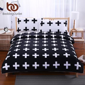 BeddingOutlet Black Cross Home Bedding Set White Bedclothes Super Soft Cover For Bed Bedroom Twin Full Queen King drap de lit