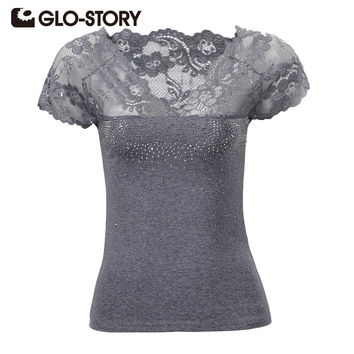 GLO-STORY 2017 New High Quality Summer Women T shirt  Sexy Lace Patchwork V-neck Lady Tops  tees 4 colors WMY-1363