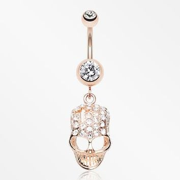 Rose Gold Skull Fury Belly Button Ring