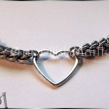 Bound by Love rope chainmaille bracelet with simple Heart. Lightweight for everyday wear. Timeless JPL Lead and Nickel FREE. Perfect Gift!