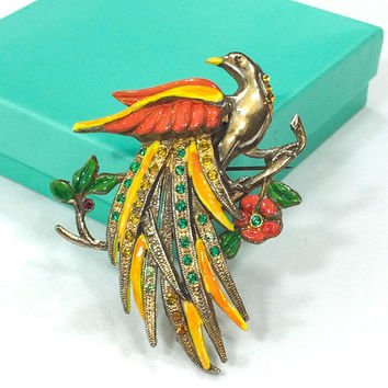Large Bird Brooch, Bird of Paradise Brooch, Orange Yellow Red Enamel, 1940s, Retro Jewelry, Statement / Vintage Jewelry