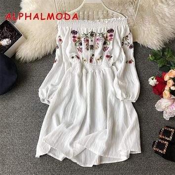 ALPHALMODA 2019 New Ladies Sweet Embroidery Floral Dress Slash Neck Long-sleeved High Waist Women Casual Spring Vestidos