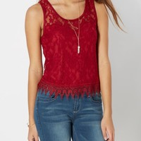 Burgundy Lace Skimmer Tank | Going Out Tank Tops | rue21