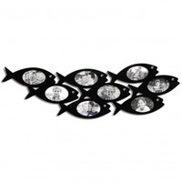 Adeco Decorative Black Wood Wall Hanging Collage Picture Photo Frame, School of Fish, 8 Oval Openings, 4x6""