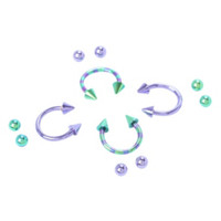 Steel Purple And Green Striped Circular Barbell 4 Pack