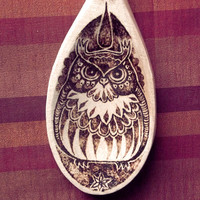 Owl Pyrography Wooden Spoon. Wood Burning, Owl Wall hanging, owl decor, owl ornament, Housewarming Gift, wood burned spoon, owl gift, UK