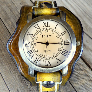 Women's Leather Watch Cuff, Leather wrist watch, Bracelet Watch, Leather Watch, Vintage looking watch, Tobacco Brown, Free Style