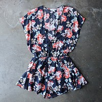 always wander floral ruffle hem romper - more colors