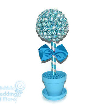 Blue Lollipop Topiary, Blue Candy Topiary, Blue Wedding Centerpiece, Blue, Wedding, Centerpiece, Candy Buffet, Lollipop, Candy, Blue Wedding