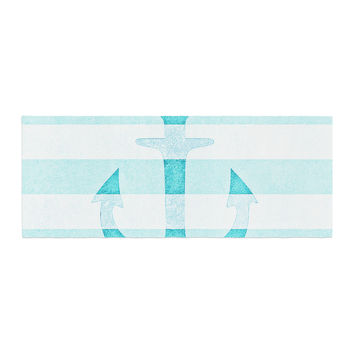 "Monika Strigel ""Stone Vintage Aqua Anchor"" Bed Runner"
